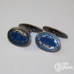 Запонки с синей эмалью
