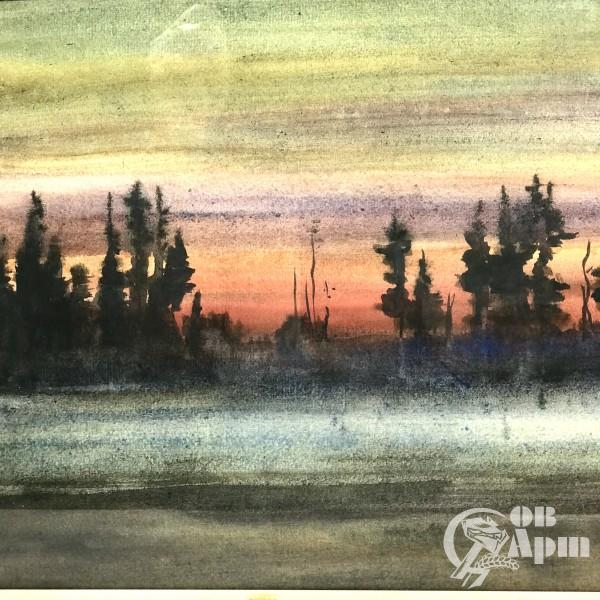 Творческое наследие В.Городецкого. Акварель «Осенний вечер в Карелии» 1962 год