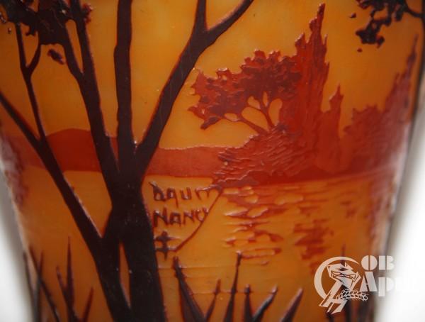Ваза с изображением пейзажа Daum Nancy