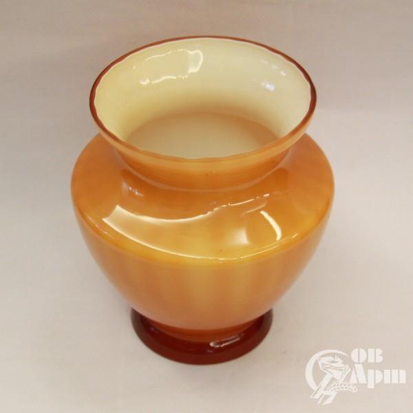 Вазочка для цветов двухслойное медовое стекло
