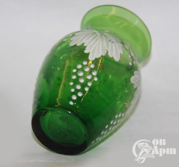 Вазочка зеленая с росписью