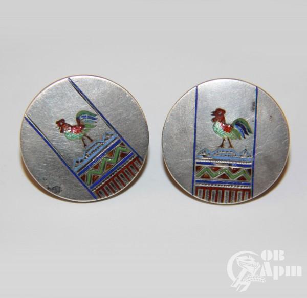 Запонки в русском стиле с изображением петухов